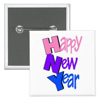 Azul púrpura del rosa de la Feliz Año Nuevo Pins