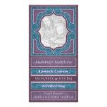 Azul púrpura elegante de la invitación del nacimie tarjetas con fotos personalizadas