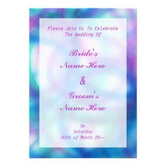 Azul púrpura y boda del trullo comunicado personalizado