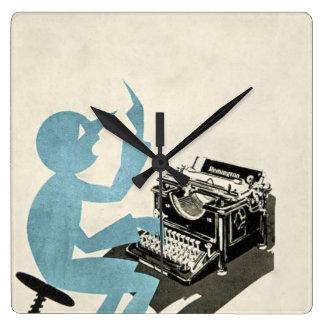 Azul que mecanografía del carácter abstracto de la relojes