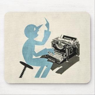 Azul que mecanografía del carácter abstracto de la tapete de ratones