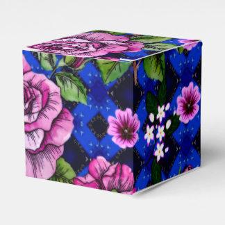 Azul que teje rosas rosados cajas para regalos de fiestas