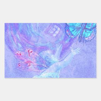 Azul - querube que persigue mariposas rectangular pegatina