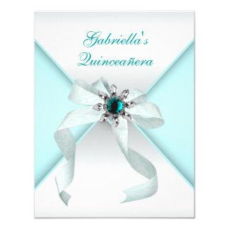Azul Quinceanera del trullo Invitación 10,8 X 13,9 Cm