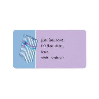 Azul rayado azul del regalo etiquetas de dirección