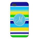 Azul rayado del amarillo del verde del trullo del  iPhone 4 protector
