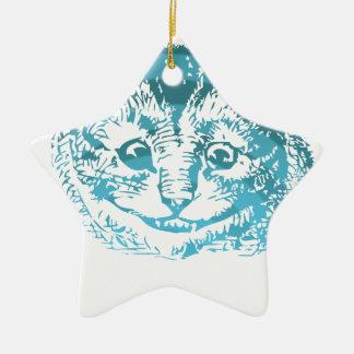 Azul rayado del gato de Cheshire Adorno Para Reyes