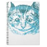 Azul rayado del gato de Cheshire Libro De Apuntes Con Espiral