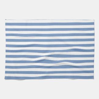 Azul/rayas grises y blancas toallas