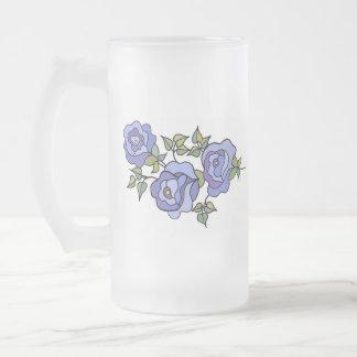 Azul real 02 color de rosa taza de cristal