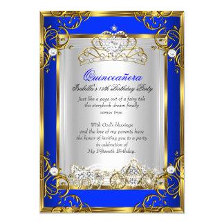 """Azul real 2 del décimo quinto cumpleaños de invitación 5"""" x 7"""""""