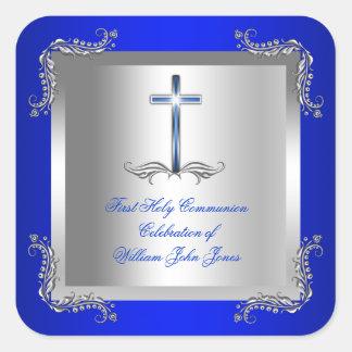 Azul real 2T de la primera plata de la comunión Pegatina Cuadrada