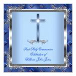 Azul real 4 de la primera plata de la comunión invitaciones personalizada