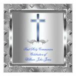 Azul real 6 de la primera plata de la comunión invitacion personalizada