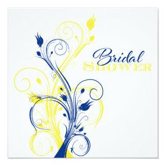 """Azul real, amarillo, ducha nupcial floral blanca invitación 5.25"""" x 5.25"""""""