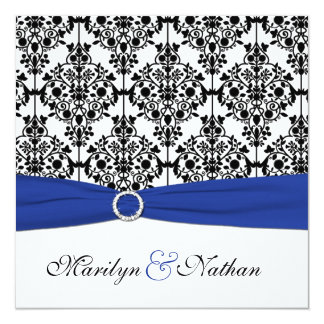 Azul real, blanco, invitación negra del boda del