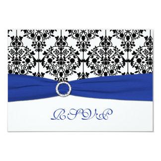 """Azul real, blanco, tarjeta de contestación negra invitación 3.5"""" x 5"""""""