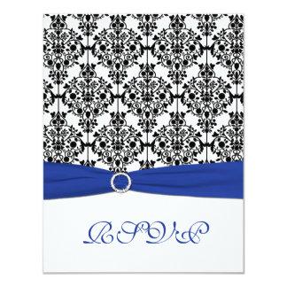 """Azul real, blanco, tarjeta de contestación negra invitación 4.25"""" x 5.5"""""""