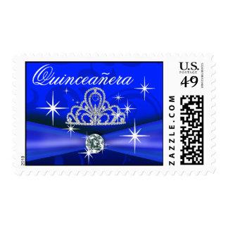 Azul real Bling de la tiara real de Quinceanera Timbres Postales