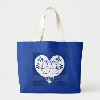 Azul real, bolso floral blanco de la dama de honor bolsa tela grande