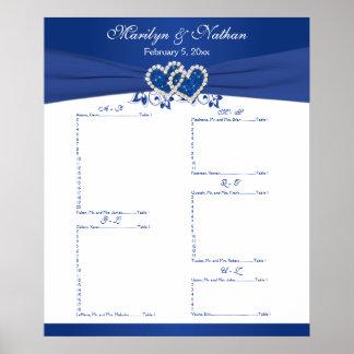 Azul real, carta floral blanca 2 del asiento de la impresiones