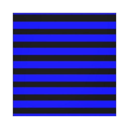 Azul real colorido y modelo rayado negro lona envuelta para galerias