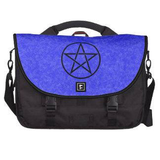 Azul real con el bolso negro del ordenador portáti bolsa de ordenador
