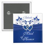 Azul real, criada floral blanca del Pin del honor