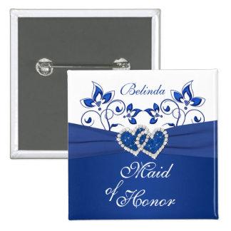 Azul real, criada floral blanca del Pin del honor Pin Cuadrada 5 Cm