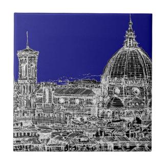 Azul real de Florencia Azulejo Cuadrado Pequeño