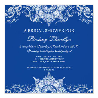 """Azul real de la ducha nupcial del remolino del invitación 5.25"""" x 5.25"""""""