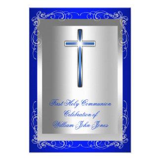 Azul real de la primera plata de la comunión santa invitaciones personalizada