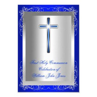 """Azul real de la primera plata de la comunión santa invitación 3.5"""" x 5"""""""