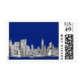 Azul real de la tinta de NYC Estampillas