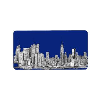 Azul real de la tinta de NYC Etiqueta De Dirección