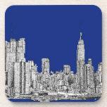 Azul real de la tinta de NYC Posavasos