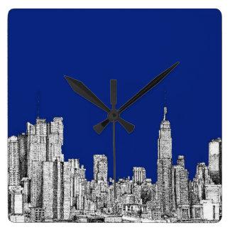 Azul real de la tinta de NYC Reloj De Pared