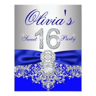 """Azul real de los diamantes y fiesta de plata del invitación 4.25"""" x 5.5"""""""
