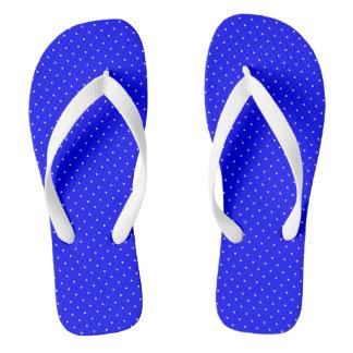 Azul real de los flips-flopes con los puntos