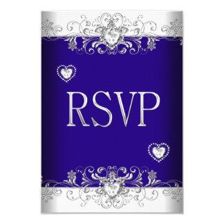 """Azul real de RSVP que casa los corazones blancos 2 Invitación 3.5"""" X 5"""""""