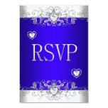 Azul real de RSVP que casa los corazones blancos Invitación 8,9 X 12,7 Cm