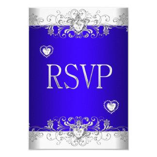 """Azul real de RSVP que casa los corazones blancos Invitación 3.5"""" X 5"""""""
