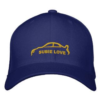 Azul real del amor de Subie con la silueta del oro Gorra Bordada