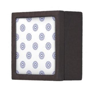 Azul real del estampado de plores 6 caja de joyas de calidad