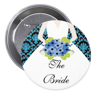 Azul real del fiesta de la novia del damasco pin redondo de 3 pulgadas