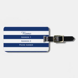 Azul real del monograma rayado etiquetas bolsas