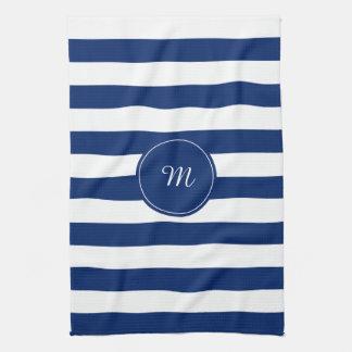Azul real del monograma rayado toallas