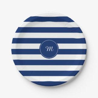 Azul real del monograma rayado plato de papel de 7 pulgadas