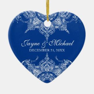 Azul real del primer navidad del remolino del dama ornamento para arbol de navidad
