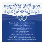 Azul real, ducha nupcial de los corazones florales comunicado personalizado